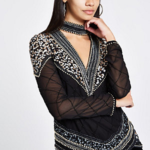 Black sequin embellished choker neck top