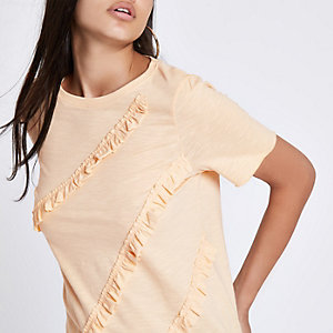 Yellow ruffle crew neck T-shirt