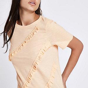 T-shirt jaune à volants et col ras-du-cou