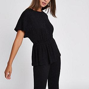 T-shirt noir texturé froncé sur le côté