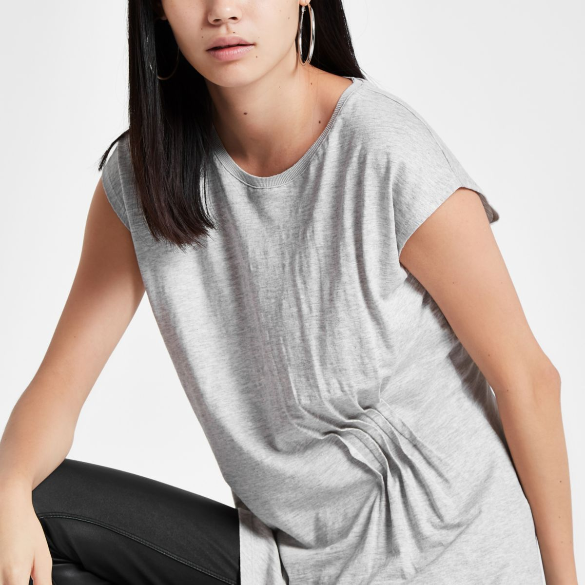 Grey longline pleated top