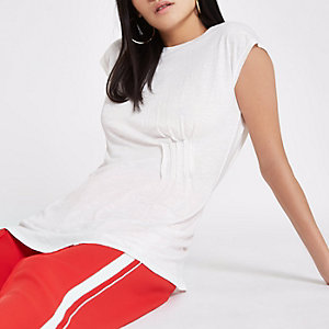 White longline pleated top