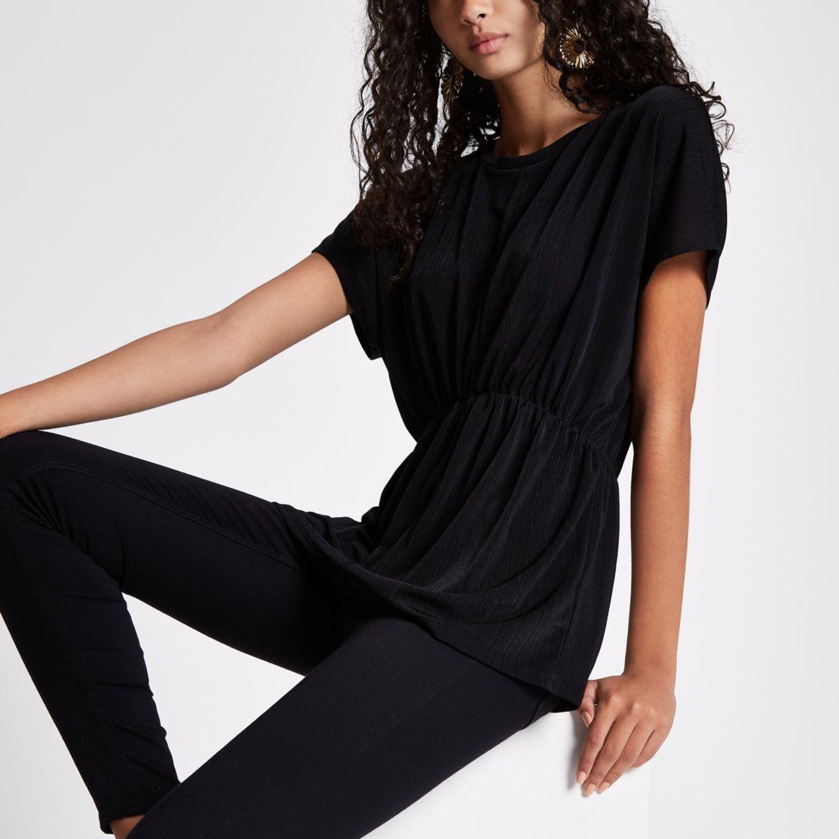Black short sleeve batwing top