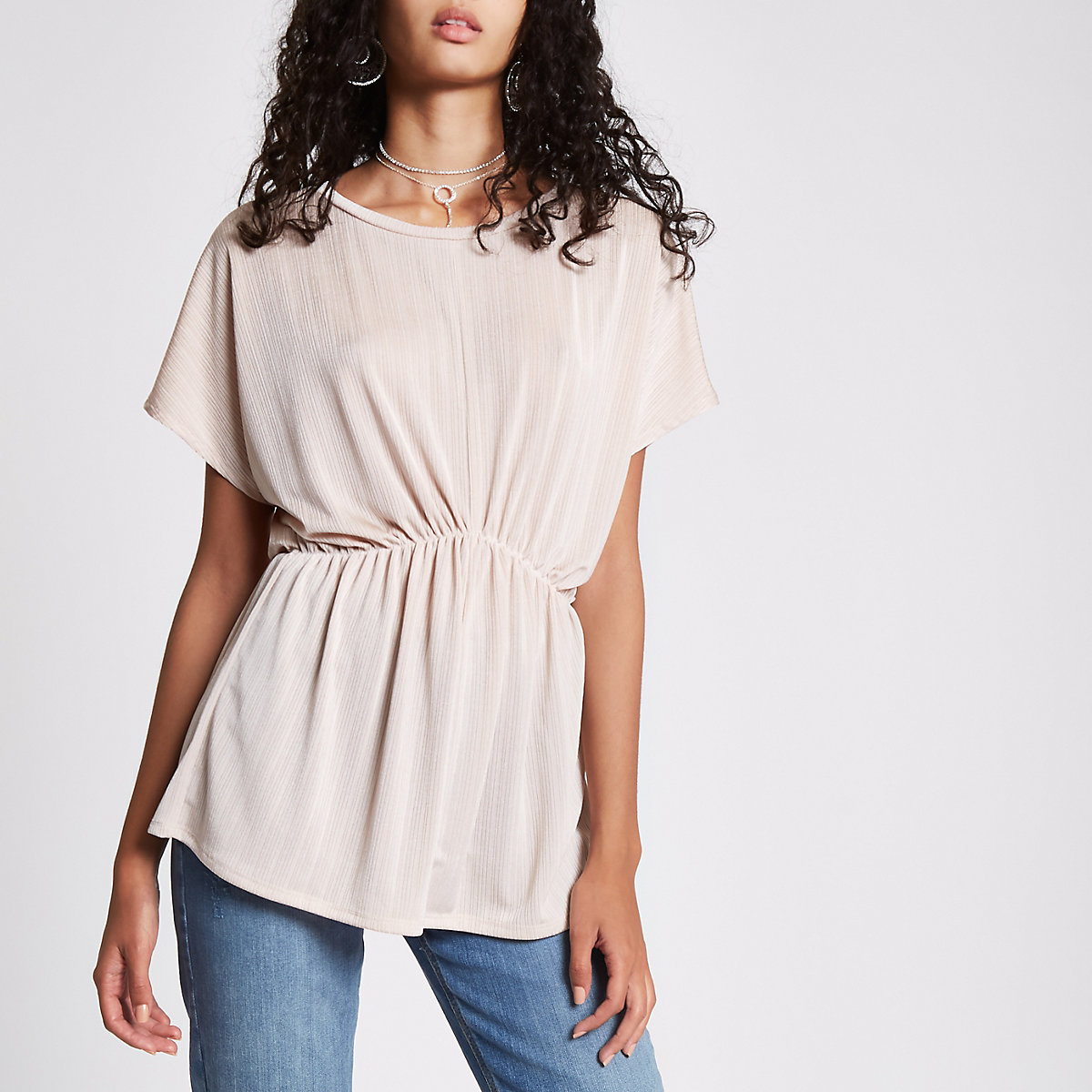 Pink short sleeve batwing top