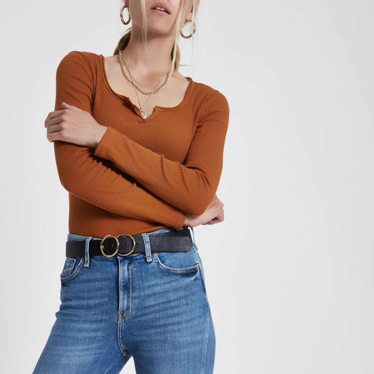 Brown ribbed notch neck long sleeve top