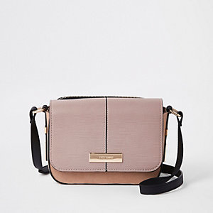 Beige suede back zip pouch cross body bag