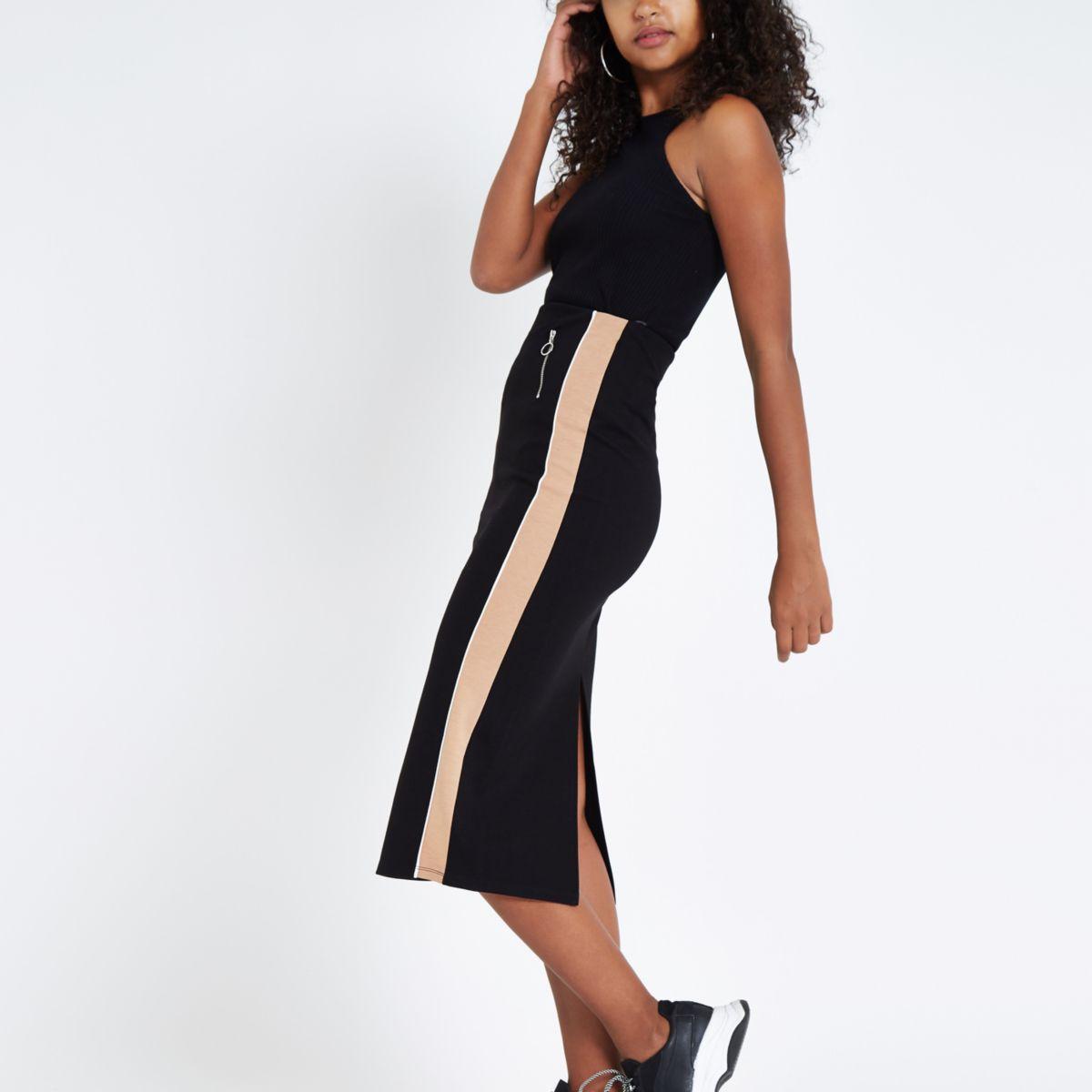 Black ponte side stripe pencil skirt