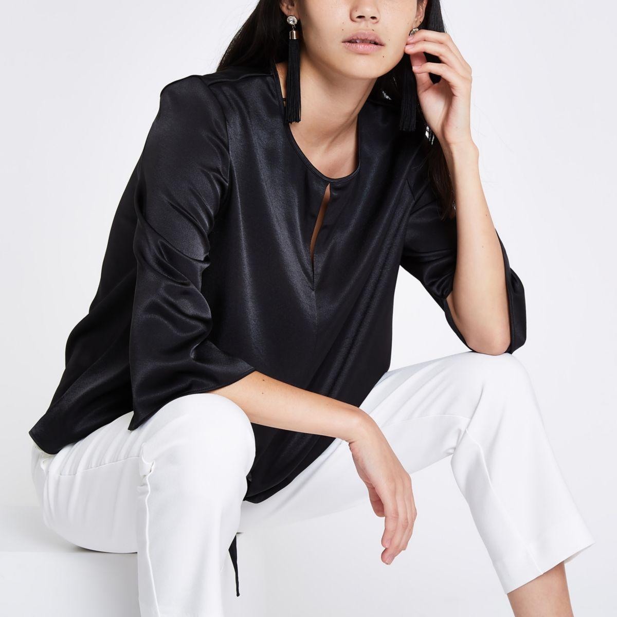 Black tie front blouse
