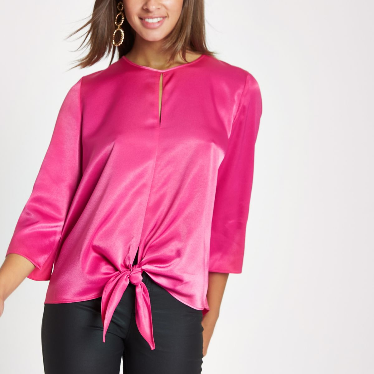 Pink tie front long sleeve top