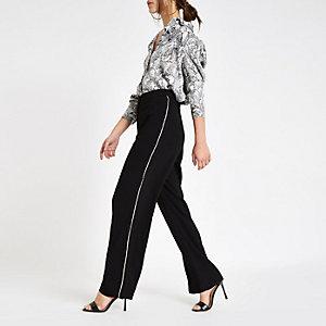 Petite black diamante side wide leg trousers
