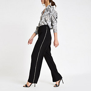 Petite black rhinestone side wide leg pants