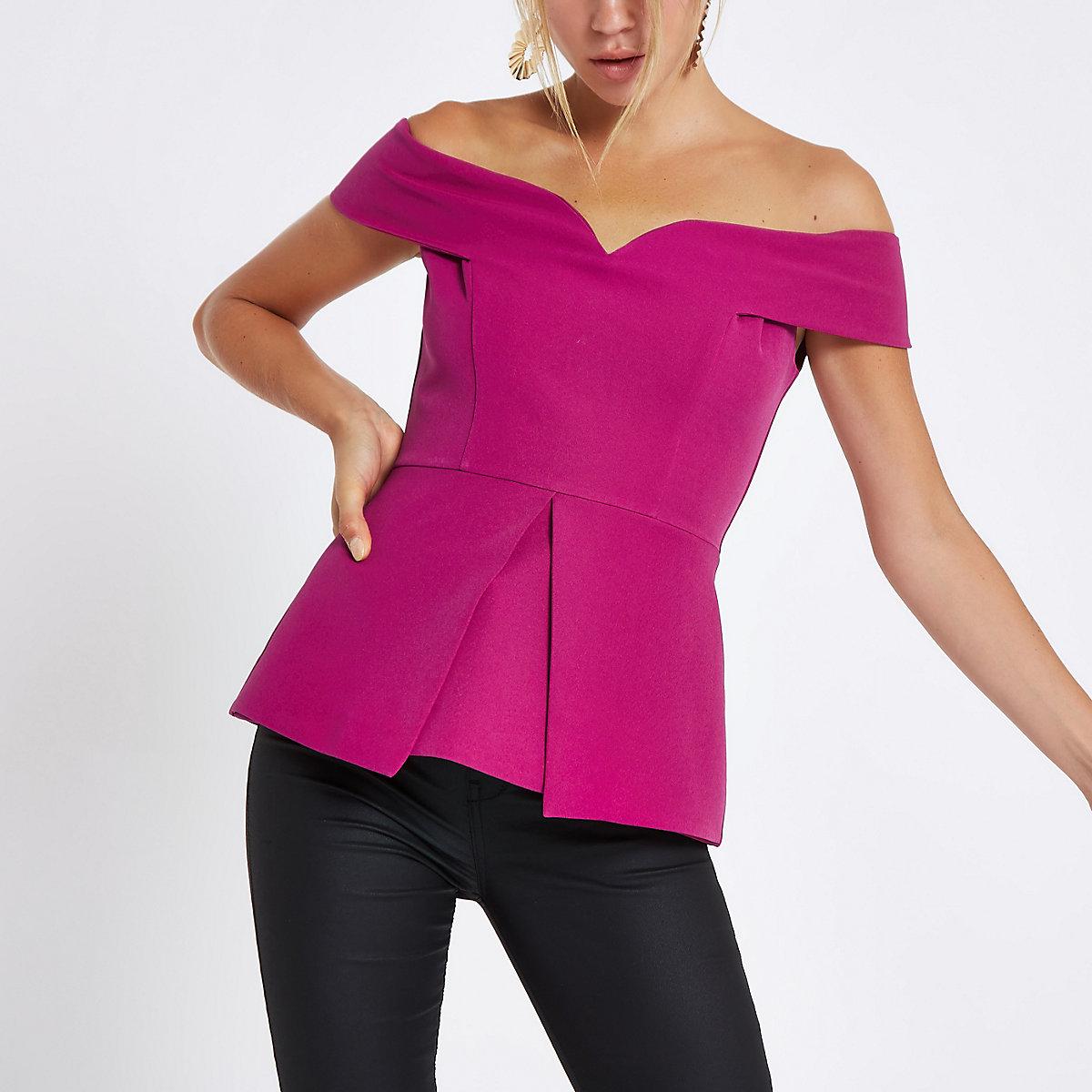 Purple structured bardot top