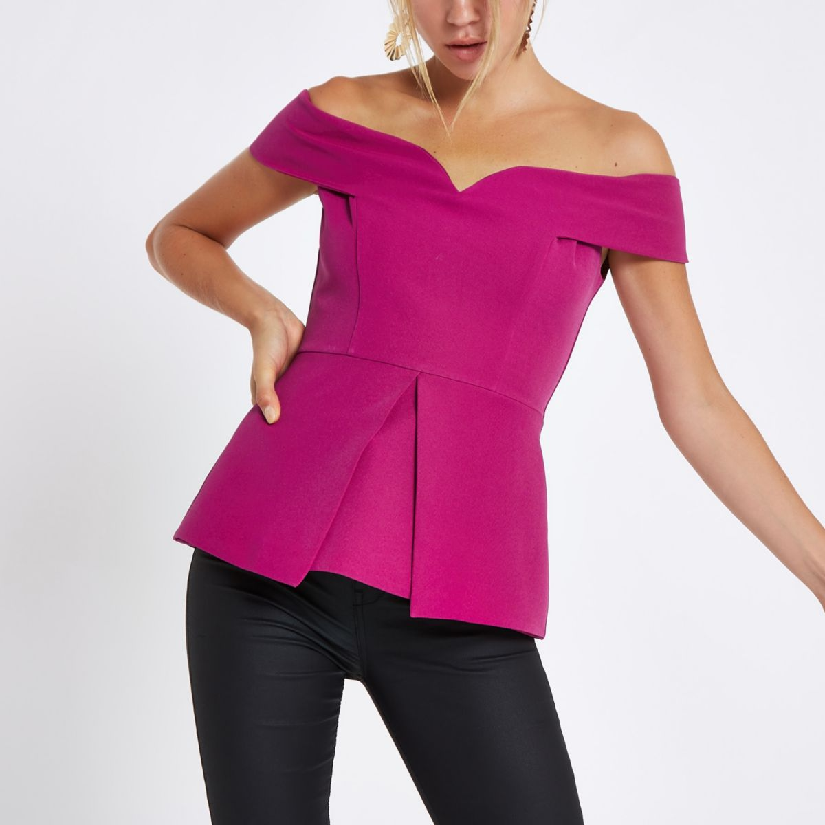 Purple structured bardot top