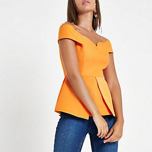 Top Bardot orange structuré