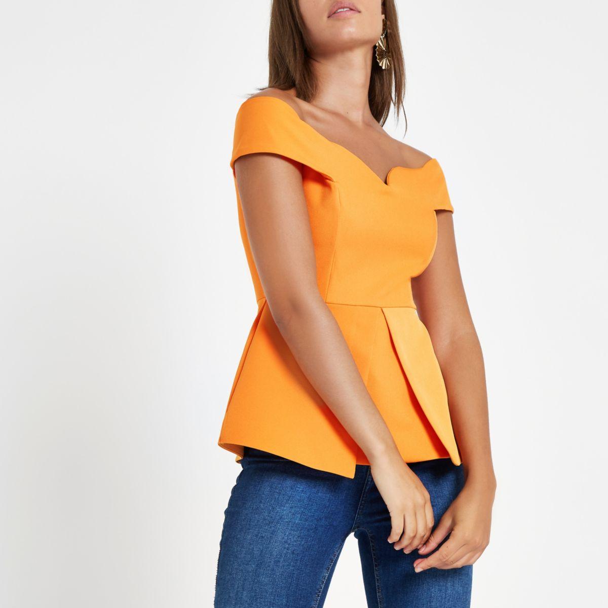 Orange  structured bardot top