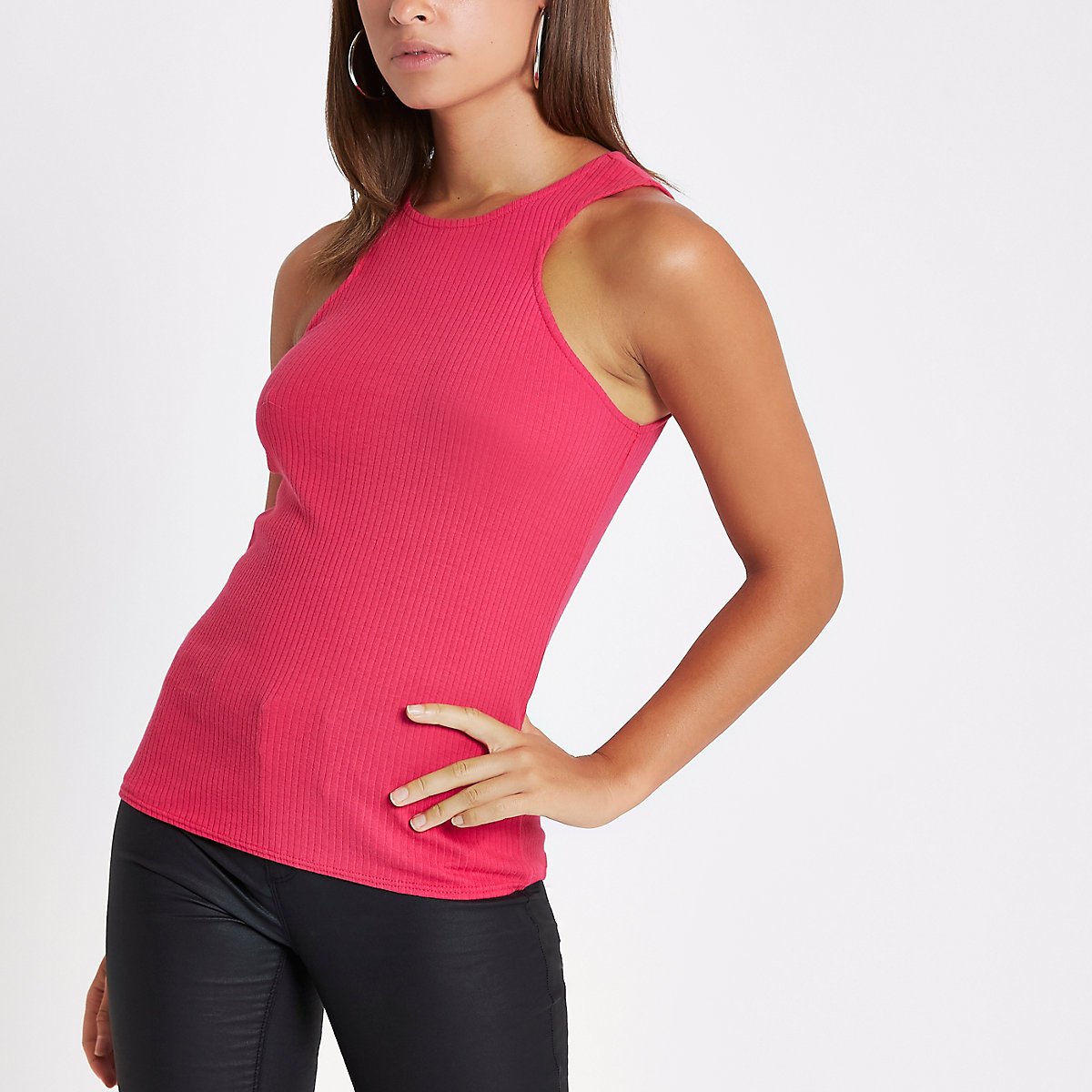 Pink ribbed cut out vest