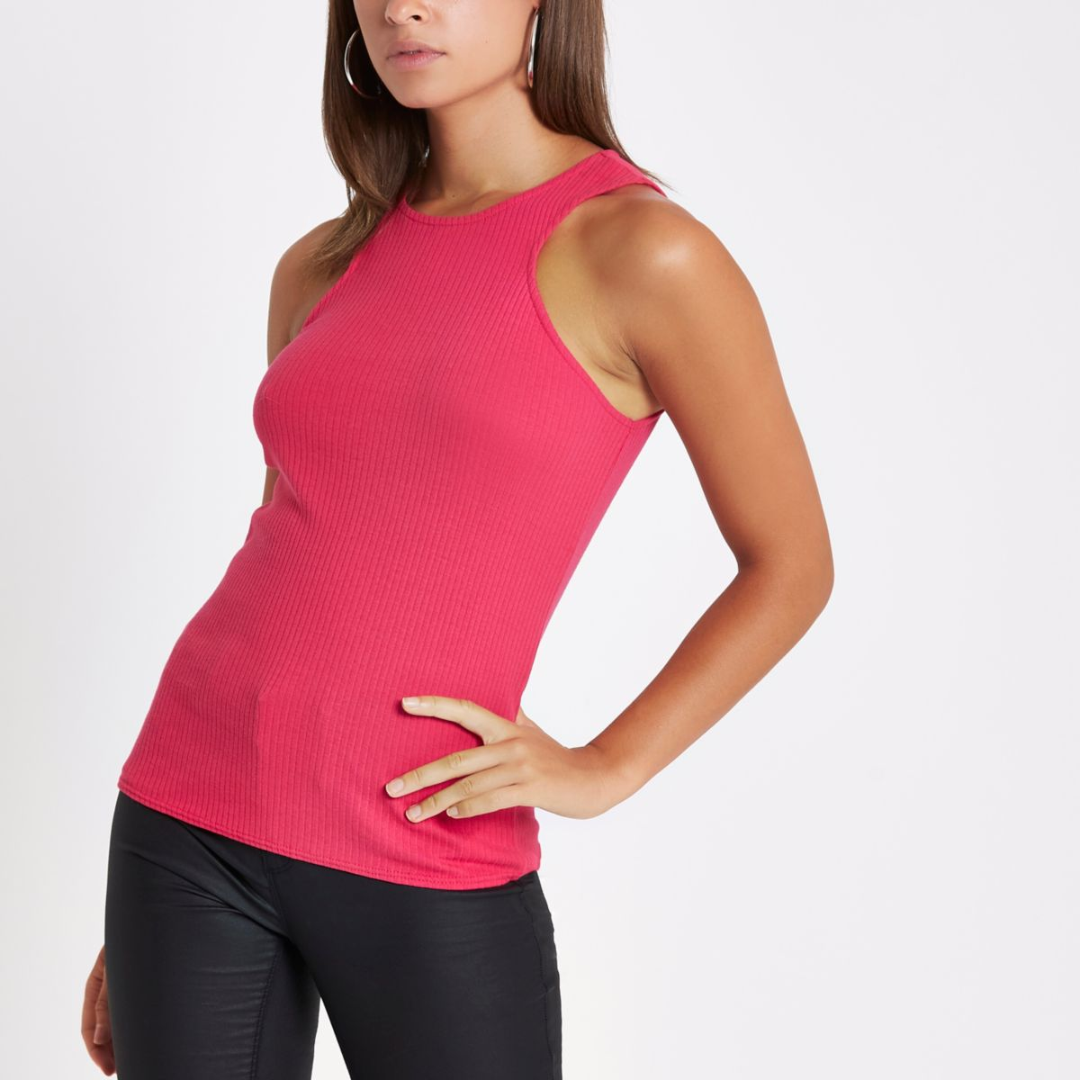 Pink ribbed cut out tank