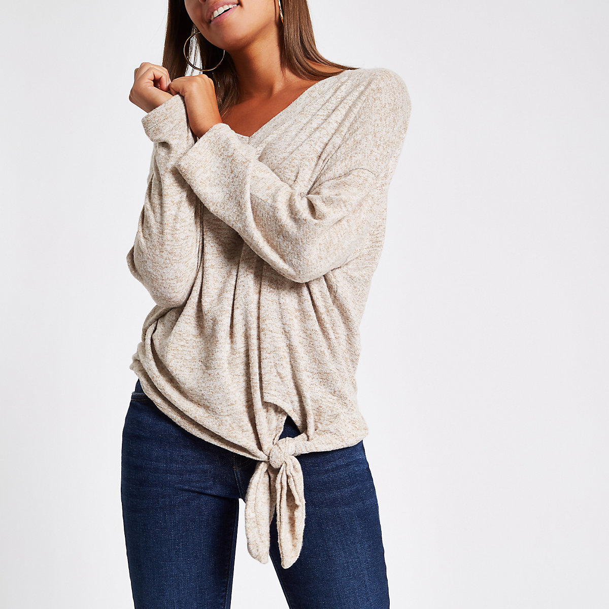 Beige hacci knit tie front top
