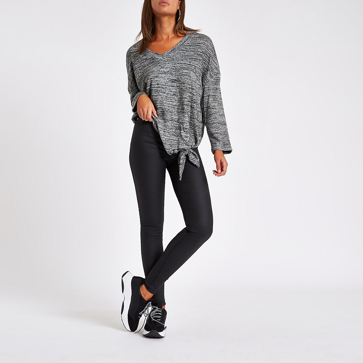 Dark grey hacci knit tie front top