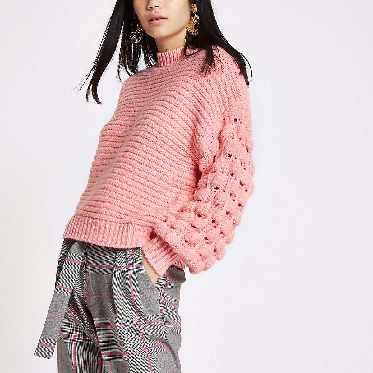 Light pink knit bobble sleeve sweater