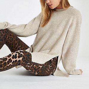 Beige split side knit jumper