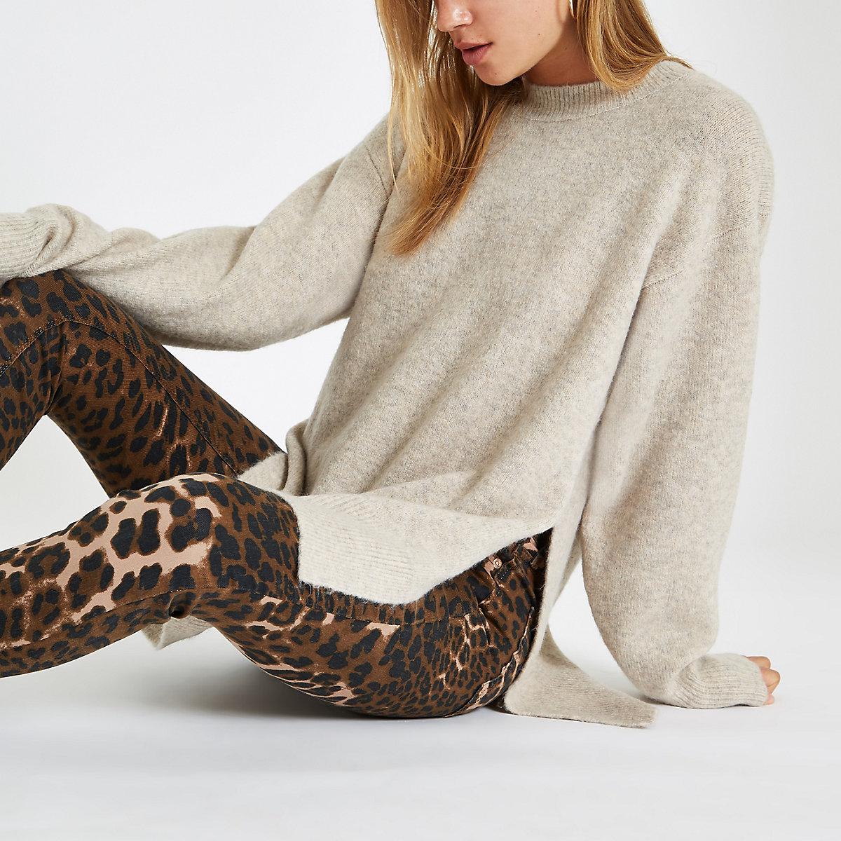 Beige split side knit sweater