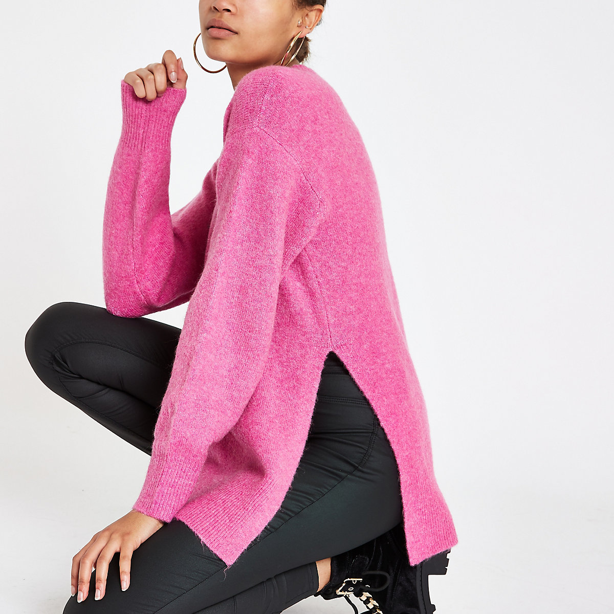 Bright pink split side knit jumper