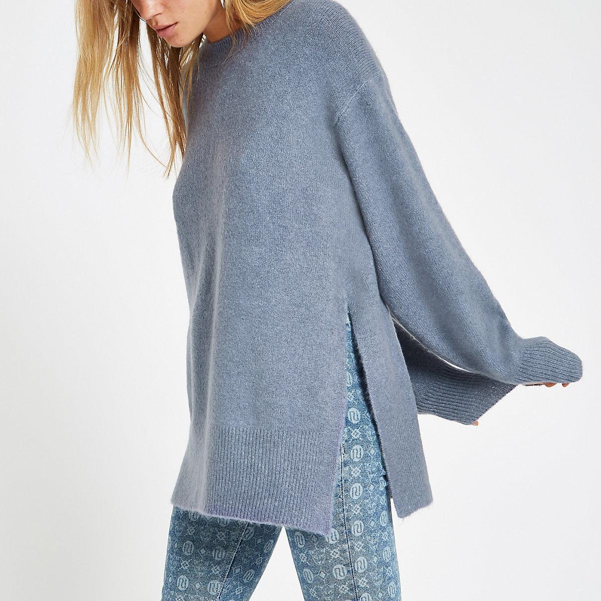Blue split side knit sweater