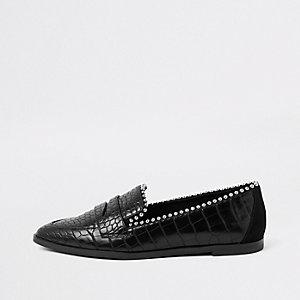 Schwarze, perlenverzierte Loafer
