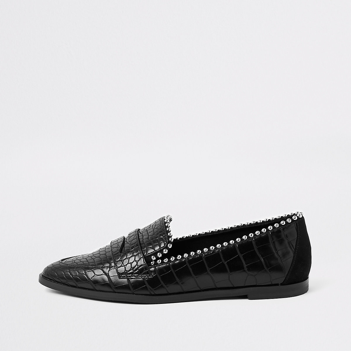 Black croc embossed stud embellished loafers