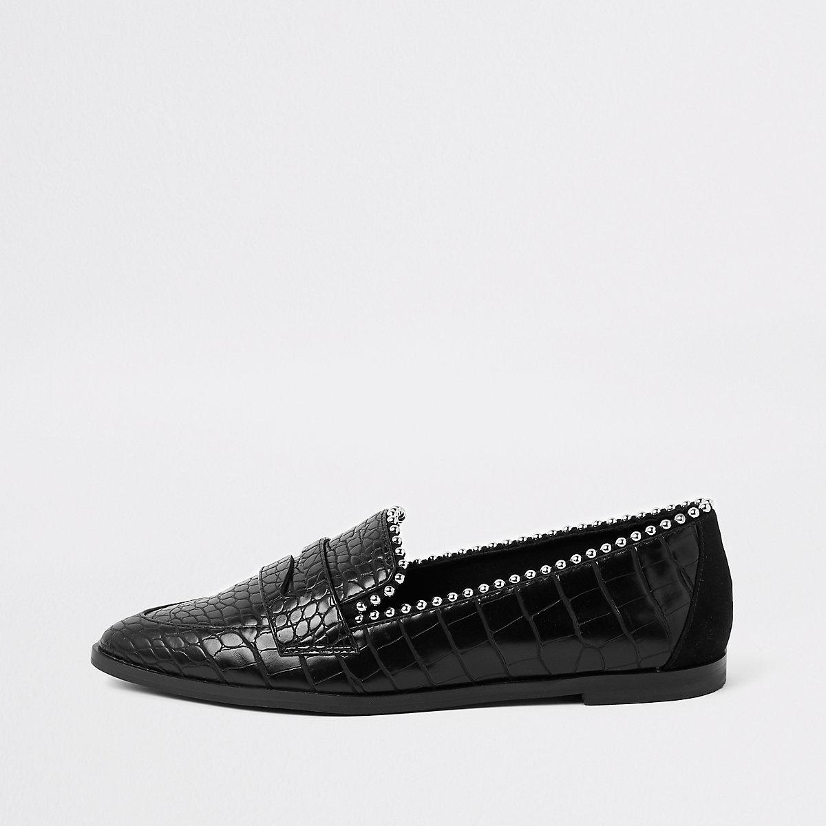 Black croc embossed stud embellished loafers