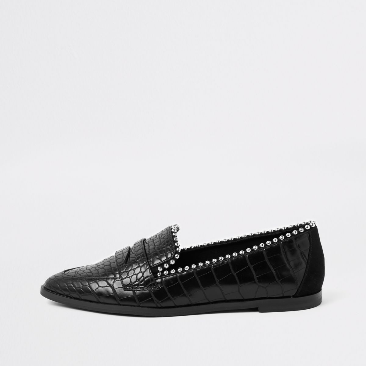 Black croc embossed pearl embellished loafers