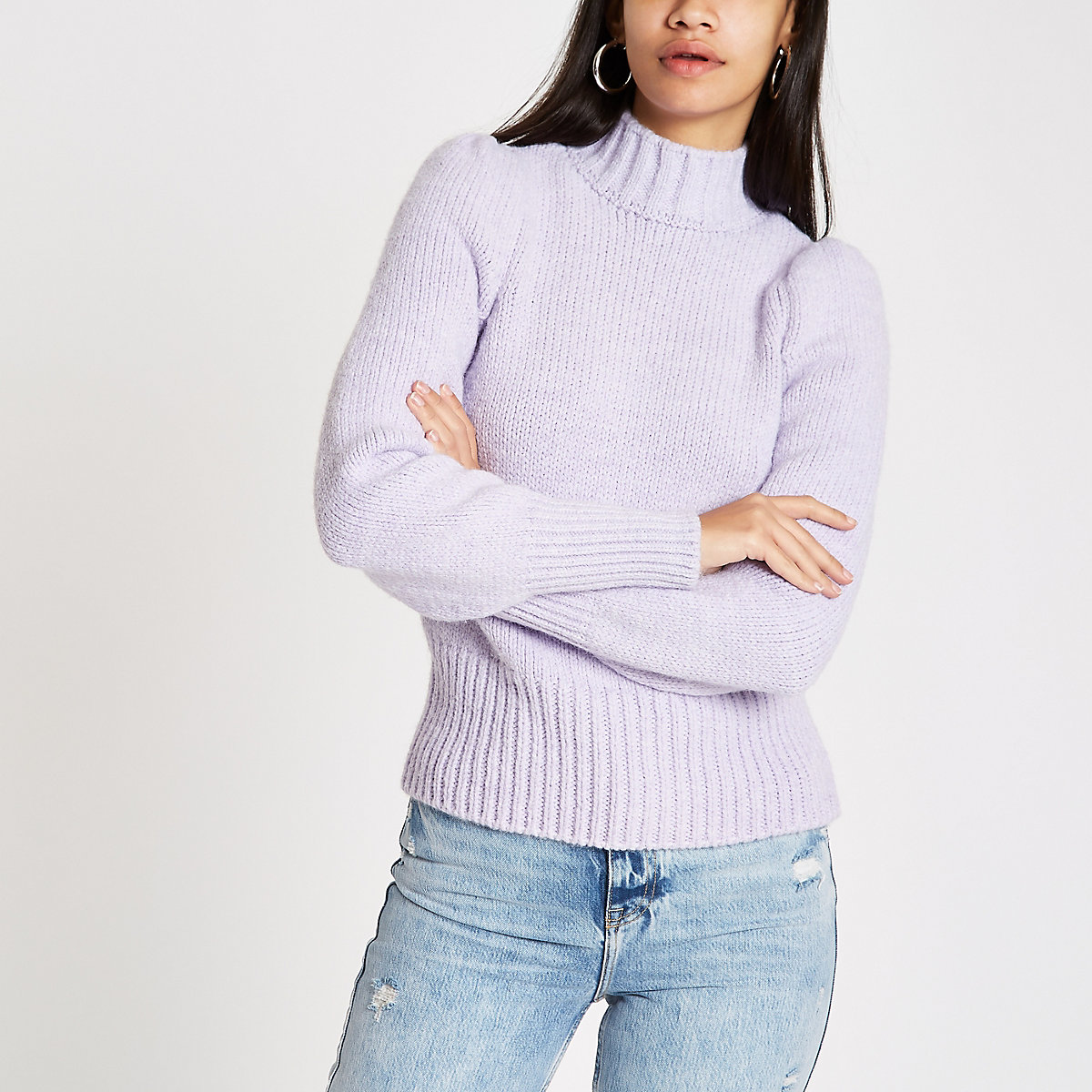 Purple puff sleeve knit sweater