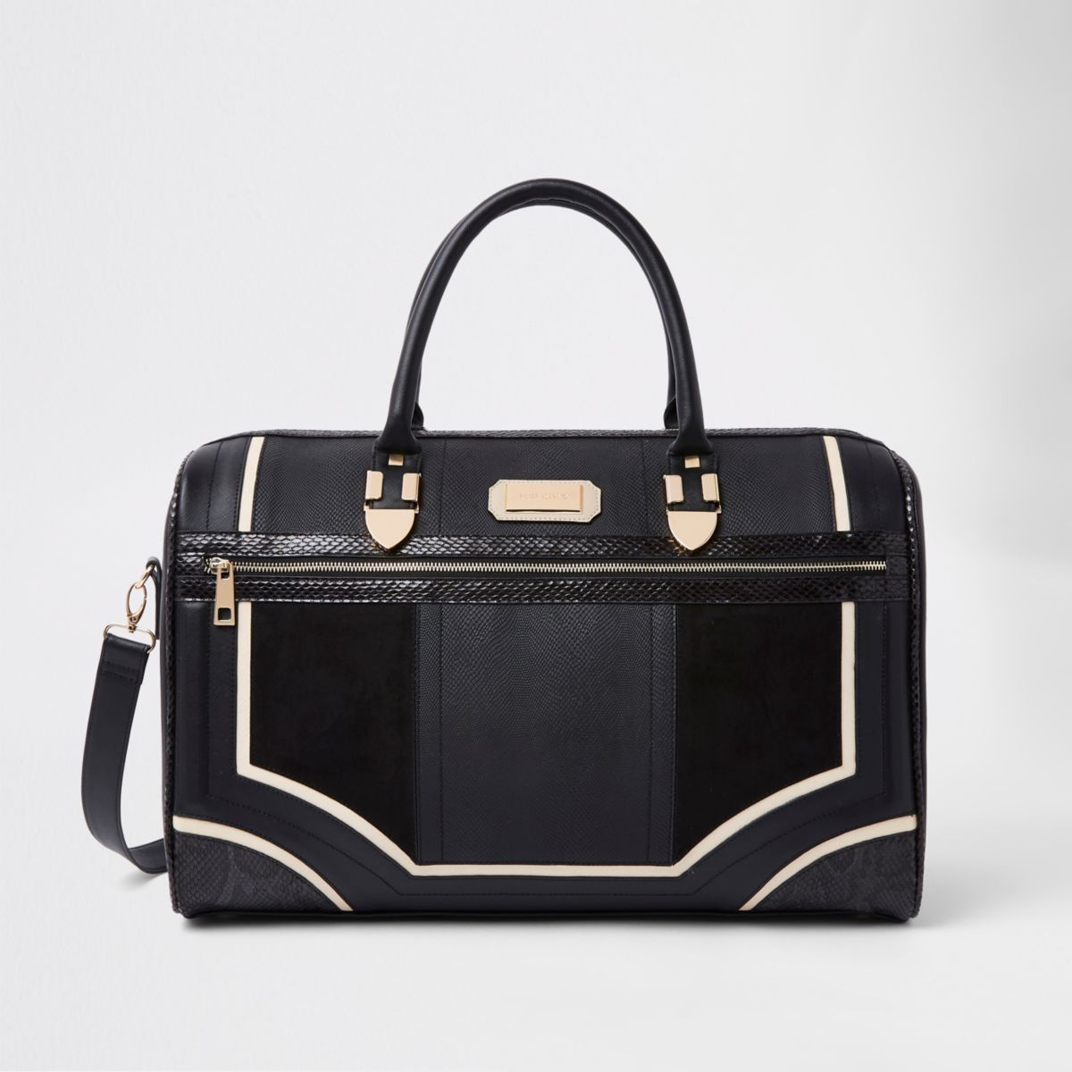 Black metallic panel weekend bag