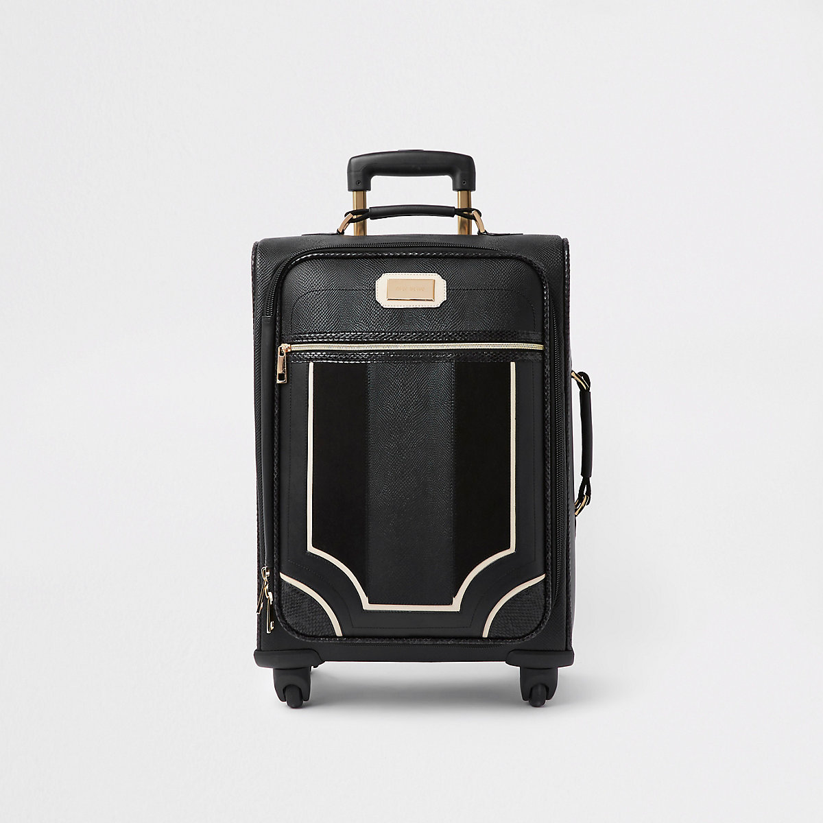 Black front pocket four wheel suitcase