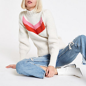 Cream puff sleeve knit jumper