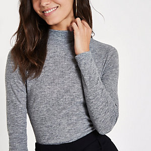 Grey brushed rib high neck top