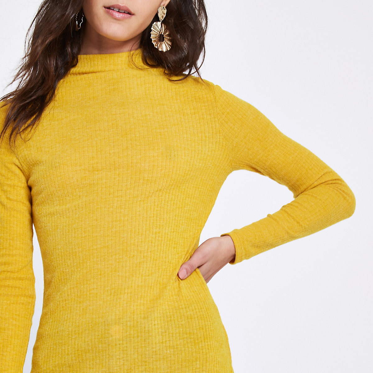 Yellow brushed rib high neck top