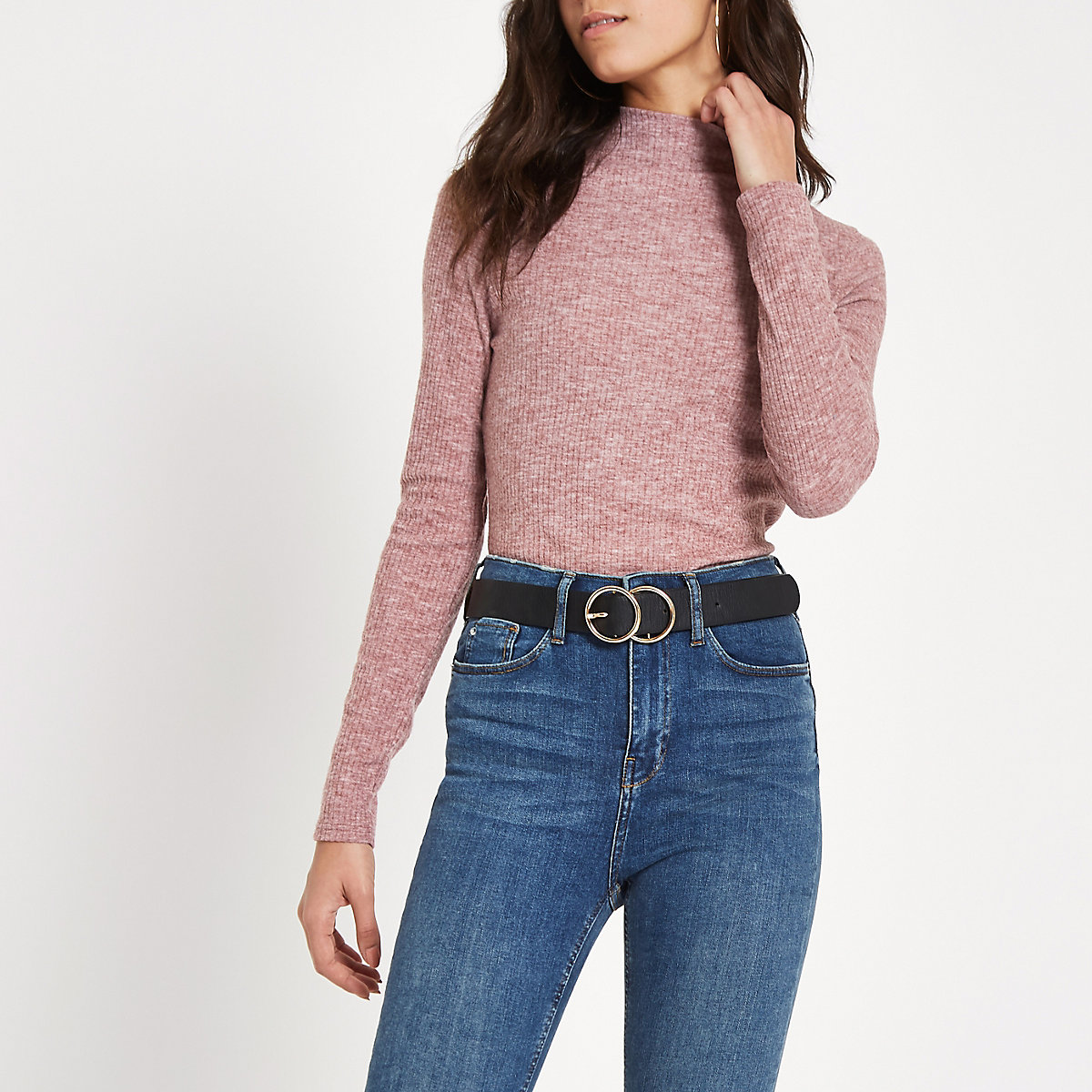Light pink brushed rib high neck top