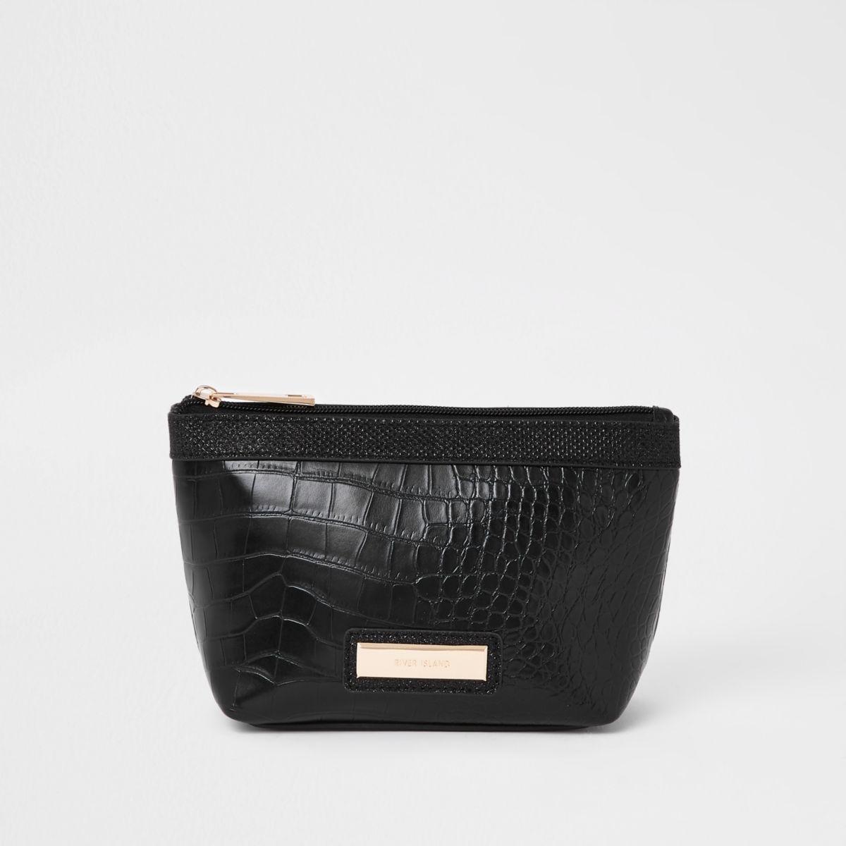 Black croc panel makeup bag