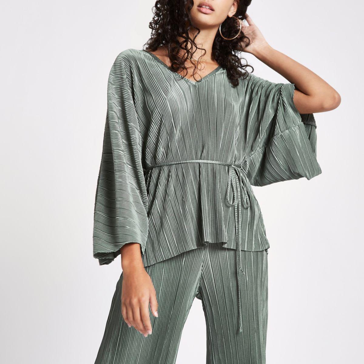 Khaki green V neck tie waist kimono top
