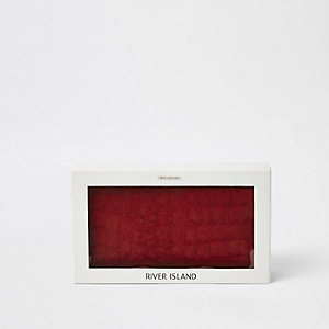 Red leather gift boxed croc foldout purse