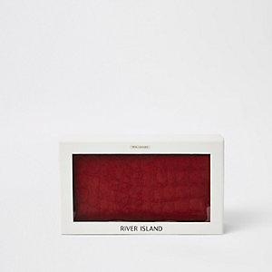 Coffret porte-monnaie en cuir grain croco rouge à rabat