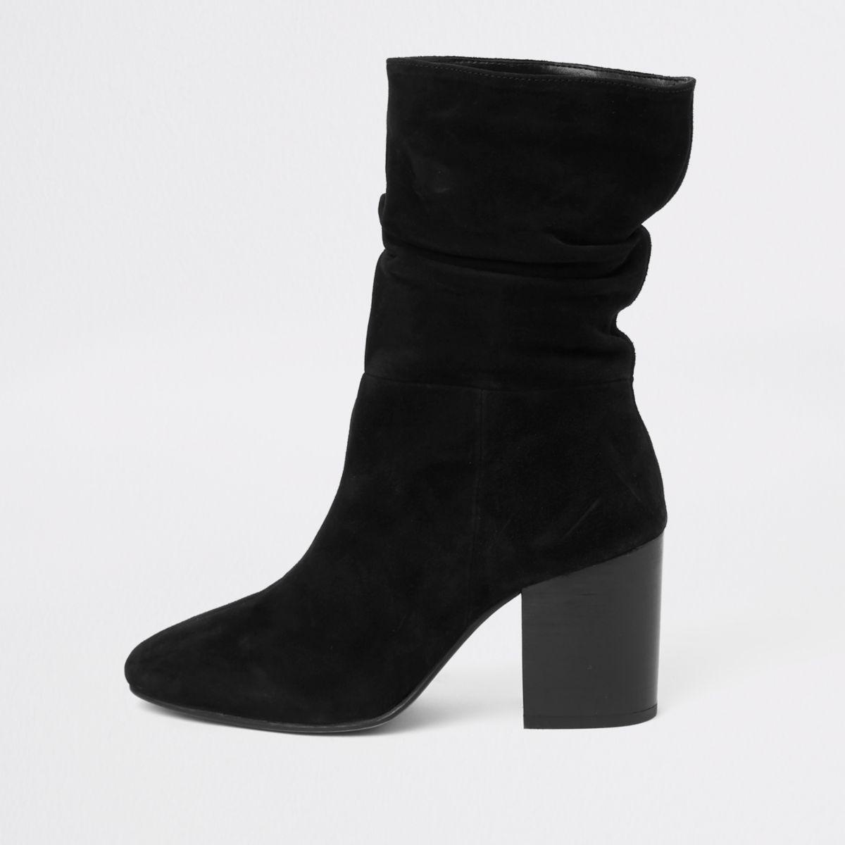 Black suede slouch block heel boots