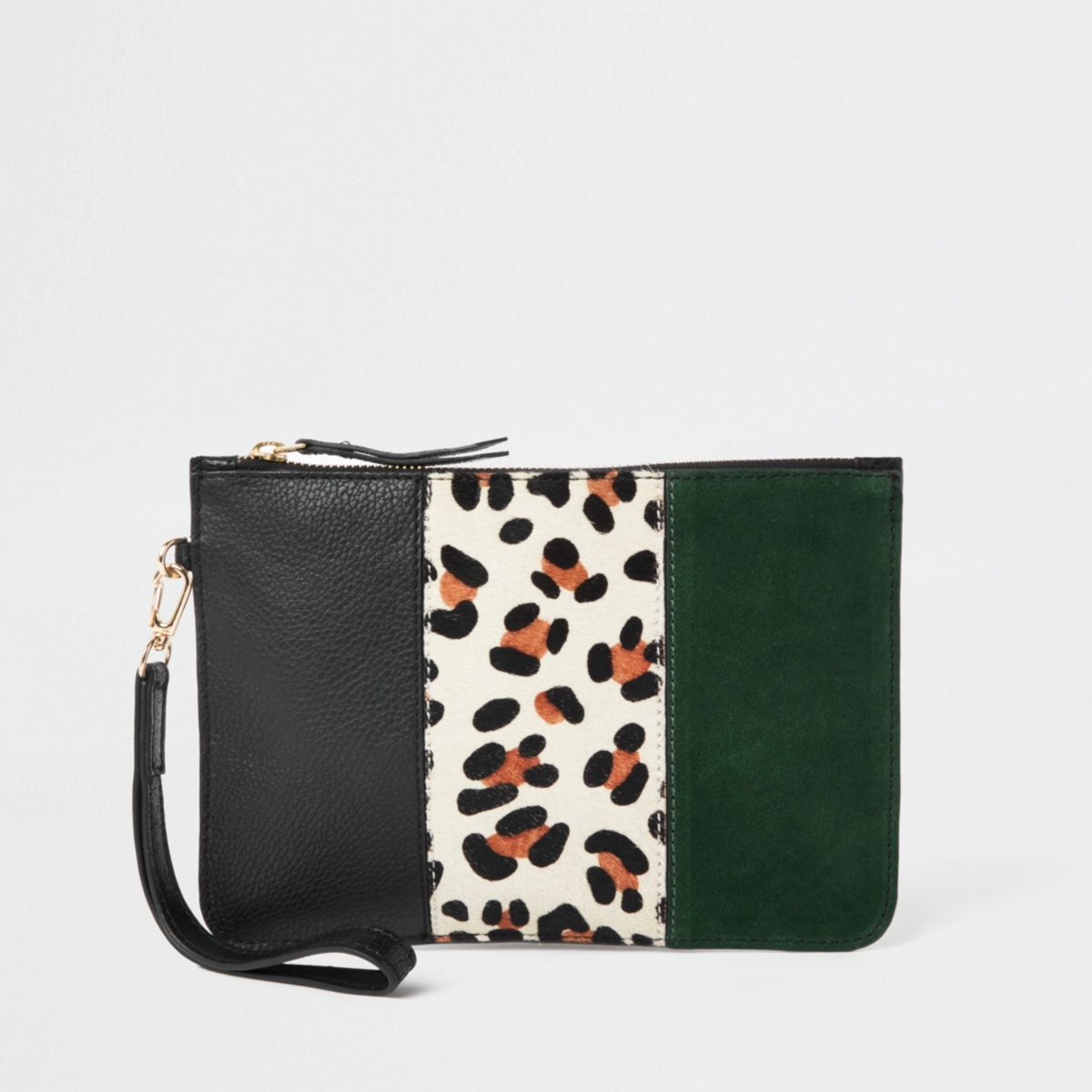 Beige leather panel pouch clutch bag