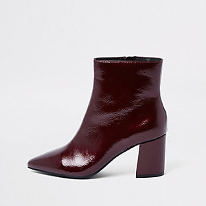 Dark red pointed toe block heel boots