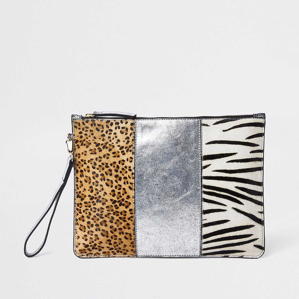 Beige animal print panel pouch bag