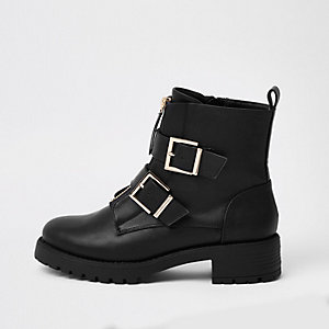 Black buckle front zip chunky boots