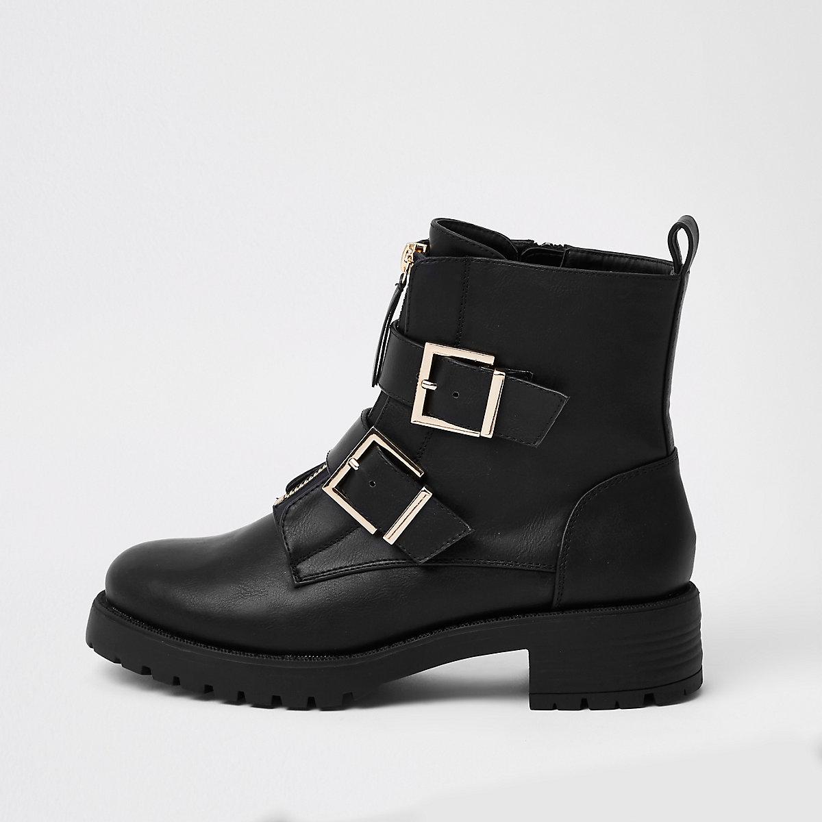 Zwarte stevige laarzen met gesp en rits voor
