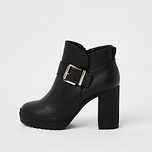 Black buckle crepe sole ankle boots